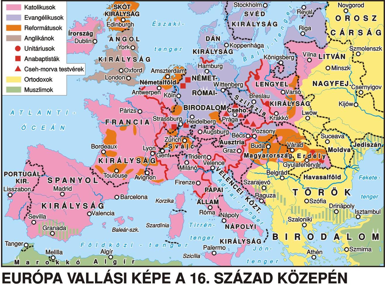 európa térkép magyar nyelvű Európa vallási térképe európa térkép magyar nyelvű